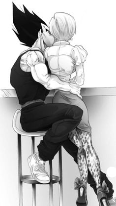 Vegeta and Bulma  I'm not big into Dragon Ball but this is a good piece of art.