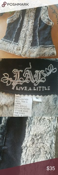 ❤Leather furry vest!!!! 💖This is a FABULOUS vest!!! Real leather. Faux fur. So cute!!! Has hook closures as shown in photo.👄👄👄THIS IS A TOTAL DEAL!!! CUTE CUTE CUTE!!! ❤❤❤ Jackets & Coats