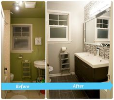 Bathroom, Before And After Pictures Bathroom Renos: Gorgeous Green And  White Bathroom Renovation Ideas With Wonderful Arrangement
