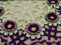 Passo a passo Trilho/Caminho Mesa Croche Flor 6 Bicos - Professora Simone - YouTube