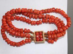 Antique Victorian 18K Rose Gold Coral Clasp 3 String Deep Salmon Coral Bracelet | eBay