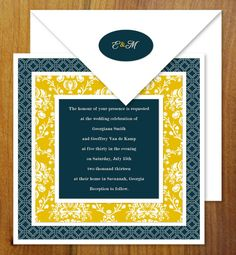 Damask Square Wedding Invitations (color options available) - Free US Shipping. $4.00, via Etsy.