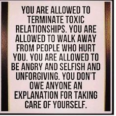 hallelujah!!!!!!!!!! You do not owe an explanation for taking care of yourself!!!!