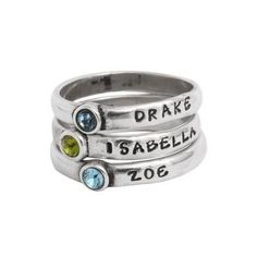Stackable name rings with birthstone settings are the perfect gift for mom. Stack one ring for each child. Unique Diamond Engagement Rings, Diamond Wedding Rings, Vintage Engagement Rings, Unique Rings, Round Diamond Ring, Gold Diamond Rings, Silver Rings, Stackable Birthstone Rings, Stackable Rings