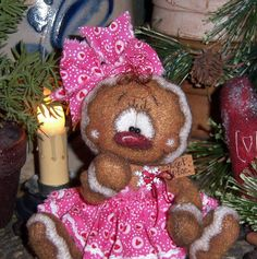 Primitive-Raggedy-Ann-Valentine-Gingerbread-5-Bear-Doll-Vtg-Pattis-Ratties