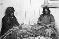 Maori women Weaving with flax