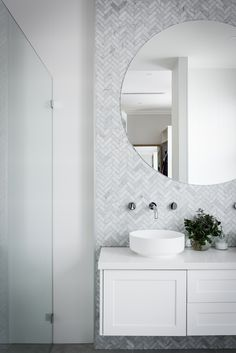 Hampton's en-suite with Carrara herringbone, shaker cabinets and stone countertops. Funky Bathroom, Bathroom Mirror Design, Bathroom Images, Bathroom Renos, Modern Bathroom Design, Bathroom Styling, Bathroom Interior Design, Bathroom Renovations, Small Bathroom