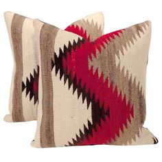 Pair of Early Navajo Indian Weaving Pillows