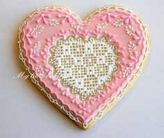 Cross stitch Valentine Cookie...good idea for someone with patience!