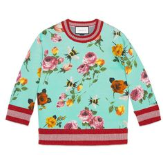 Gucci Rose Print Double Fleece Sweatshirt featuring polyvore, women's fashion, clothing, tops, hoodies, sweatshirts, rose, fleece sweatshirt, blue top, print top, three quarter sleeve tops and patterned sweatshirts