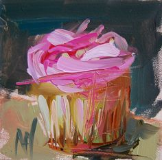 Pink Frosted Cupcake no. 4 original still life cake sweets oil painting by Angela Moulton 4 x 4 inch on panel prattcreekart by prattcreekart on Etsy