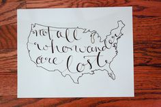 USA Not All Who Wander Print by LauraFrancesDesigns on Etsy