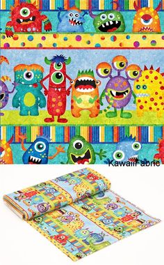 colorful fabric stripe monster by Northcott Stonehenge Monsters - Kawaii Fabric Shop Halloween Stoff, Halloween Fabric, Stonehenge, Modes4u, Kawaii, Monster Design, Fabric Shop, Bunt, Tents