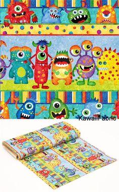colorful fabric stripe monster by Northcott Stonehenge Monsters - Kawaii Fabric Shop Halloween Stoff, Halloween Fabric, Stonehenge, Modes4u, Kawaii, Monster Design, Fabric Shop, Bunt, Monsters