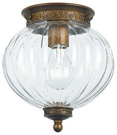 Milk+Glass+Bell+Jar+Lantern | Antique Brass Melon Jar Glass Ceiling Light - Shaped like a melon ...