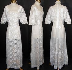 Edwardian White Eyelet Batiste Lawn Lace Wedding Dress   Front view.