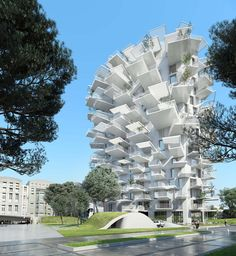 """Set to dominate Montpellier, France's skyline, Japanese architect Sou Fujimoto'slatest designhas been aptly dubbed the """"White Tree"""" (or """"Arbre Blanc"""" in French). The 17-story mixed-use building will feature residential, commercial and office space as well as an art gallery."""