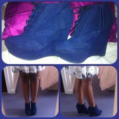 My new wedges came and I'm loving them. Navy blue was defo a good choice. :-) #wedges #navyblue #brogues #boots #fashion #style #winter #trends #girls #love #moi #instacollage