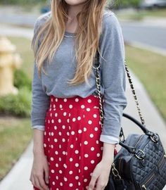 Red white dotty skirt grey top