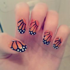 Monarch Butterfly Nails - beautiful.