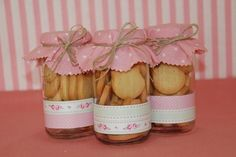 Frascos decorados - Imagui Cookie Packaging, Ideas Para Fiestas, Jar Gifts, Gift Baskets, Tea Party, Party Favors, Wedding Gifts, Mason Jars, Diy And Crafts