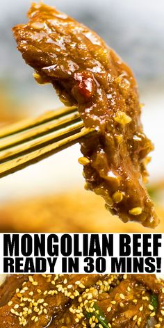 MONGOLIAN BEEF RECIPE- Quick and easy instant pot Mongolian beef , homemade with simple ingredients in 30 minutes. Tender beef slices are coated in a sweet soy ginger garlic sauce. Better than Pf Changs version. Can also be made with ground beef or chicken. Serve with ramen noodles or rice. Can also add broccoli. From OnePotRecipes.com #dinner #beef #pressurecooker #onepotmeal #onepotrecipes #30minutemeal #30minuterecipes