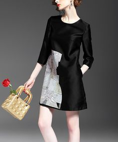 This Black & Gray Abstract A-Line Dress is perfect! #zulilyfinds