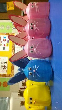 Gallon Milk Easter Baskets -washable paint -empty gallon of milk -googly eyes -pink pom poms