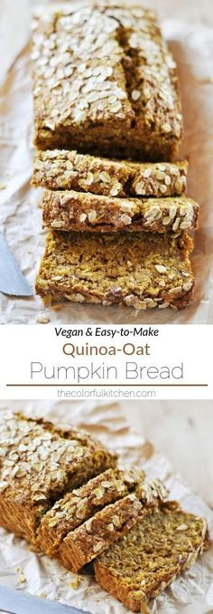 QuinoaOat Pumpkin Bread Vegan EasytoMake This healthy pumpkin bread recipe uses quinoa and oats for extra fiber and nutrients It makes a great afternoon snack or easy. Vegan Baking Recipes, Healthy Bread Recipes, Healthy Vegan Snacks, Vegan Desserts, Gourmet Recipes, Whole Food Recipes, Vegan Asparagus Recipes, Quinoa Vegan, Vegan Quinoa Recipes