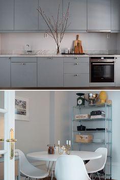 studio karin: MODERN VINTAGE grå färg på väggen mot marmor stänkskydd
