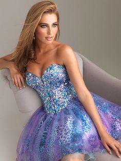 Short Purple Prom Dresses 2014 | ... Moves :: 2014 Blue Purple Corset Back Leopard Beaded Short Prom Dress