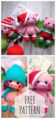 Christmas pigs knitting - Quick, Easy, Cheap and Free DIY Crafts Crochet Pig, Crochet Humor, Crochet Gifts, Crochet Toys, Christmas Knitting, Crochet Christmas, Stuffed Toys Patterns, Christmas Projects, Crochet Projects