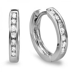 Diamond Earrings Design | 018 Carat ctw 10k White Gold Small Round Diamond Huggie Hoop Earrings * Check out the image by visiting the link. Note:It is Affiliate Link to Amazon.