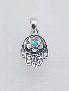 Eilat Stone Evil Eye Mini Hamsa Hand Pendant 925 Sterling Silver Lucky Charm New