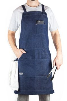 Hudson Durable Goods - Denim Apron for Chef, Kitchen, BBQ, and Grill (Indigo Blue) with Towel Loop + Tool Pockets + Quick Release Buckle, Adjustable M to XXL Grill Apron, Bbq Apron, Chef Apron, Sewing Aprons, Sewing Clothes, Denim Aprons, Jean Apron, Work Aprons, Easy Crafts To Make