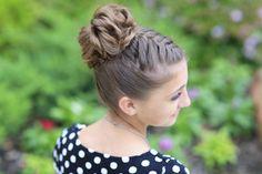Double French Braid High Bun Updo | Cute Girls Hairstyles