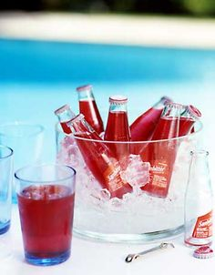 These bottled drinks were chosen for their bright red color. Display and chill them in a clear glass bowl with plenty of ice. Of course, guests are welcome to help themselves!