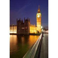 View of Big Ben and Houses of Parliament from Westminster Bridge Thames River City of Westminster London England Canvas Art - Panoramic Images (36 x 12)