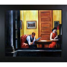 Edward Hopper 'Room in New York' Hand Painted Framed Art