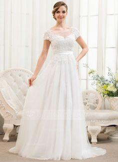A-linjeformat Rund-urringning Sweep släp Tyll Spetsar Bröllopsklänning med Pärlbrodering Paljetter (002052783)