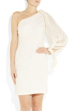 NOTTE BY MARCHESA One-shoulder stretch silk-crepe dress