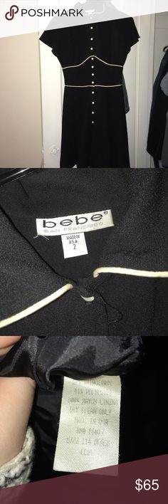 Bebe Dress Button down dress. Size 2. Missing one button on the very bottom.  Adorable dress. It's vintage Bebe as you can see from the style of the tag. bebe Dresses Mini