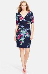 Lauren Ralph Lauren Floral Print Surplice Jersey Sheath Dress (Plus Size)