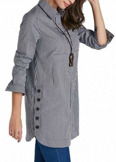 Plaid Print Turndown Collar Button Up Curved Shirt | Rosewe.com - USD $28.66