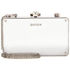 Miu Miu Mirrored Box Clutch ($2,020) ❤ liked on Polyvore featuring bags, handbags, clutches, miu miu, hard clutch, mirror purse, box clutch, white box clutch and white purse