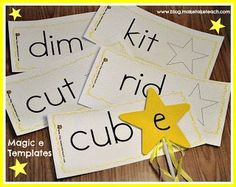 DIY Magic e wands. Great for literacy centers or small group instruction reading intervention Phonics Activities, Reading Activities, Classroom Activities, Language Activities, Phonics Words, Cvc Words, Reading Centers, Literacy Centers, Literacy Stations