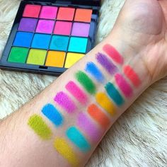 nyxcosmetics: THOSE COLORS swatched our NEW Brights Ultimate Shadow Palette. Visit her page to see two other palettes from the collection that she picked up! Makeup Swatches, Skin Makeup, Makeup Eyeshadow, Makeup Cosmetics, Nyx Eyeshadow Palette, Eyeshadows, Nyx Cosmetics Tutorials, Nyx Swatches, Makeup Brush