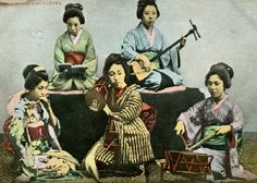 "geisha ""debayashi"" musical theatre ensemble (1905).     a debayashi (""on stage"") ensemble made up geisha musicians performing nagauta (""long song"") dance music. The ensemble consists of shinobue (transverse bamboo flute), kotsuzumi (drum played on the shoulder), shamisen (3-string long neck lute), and shimedaiko drum."