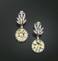 lightly yellow diamond earrings