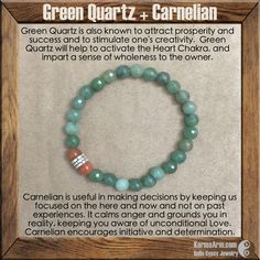 Green Quartz is also known to attract prosperity and success and to stimulate one's creativity.  Green Quartz will help to activate the Heart Chakra, and impart a sense of wholeness to the owner.  AWARENESS: Green Quartz + Carnelian Yoga Mala Bead Bracelet